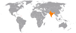 Map indicating locations of Barbados and India