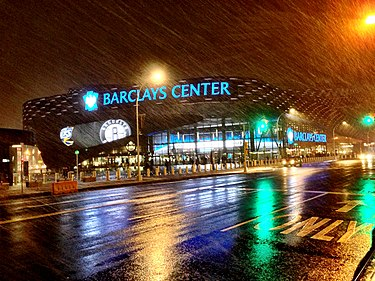 Barclays Center in Pacific Park within Prospect Heights, home of the Nets and Liberty. Barclays Center Rain Night.jpg