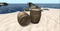 Barrels on a beach, Second Life.png