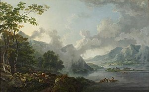 1781 in art - Image: Barrett, George Sr. View of Windermere Lake, Early Morning (1781)