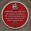 Barton Arcade red plaque, Manchester 1.jpg