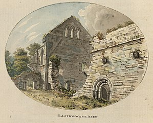 Basingwerk Abbey - Basingwerk Abbey. A miniature by Moses Griffiths, c.1778