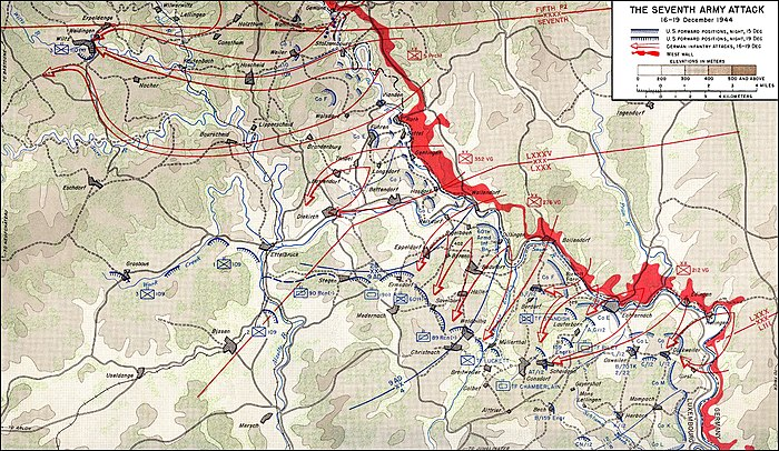 Erich Brandenberger led Seventh Army in the southernmost attack route. Battle of the Bulge 7th.jpg