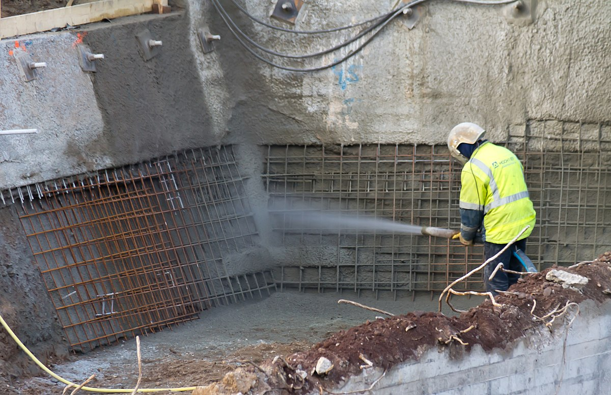 Shotcrete wikipedia for Construction piscine 76