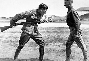 Springfield Model 1892–99 - Soldiers practice a bayonet stab with their Krag rifles.