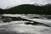 Spring melt at Bear Lake in Rocky Mountain National Park.