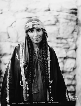 Pigtail - Bedouin woman with pigtails, 1880s.