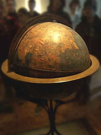 "The ""Erdapfel"" of Martin Beheim is the oldest surviving terrestrial globe, made between 1491 and 1493; the Americas are not yet included. Germanisches National Museum, Nuremberg (2006) Behaims Erdapfel.jpg"