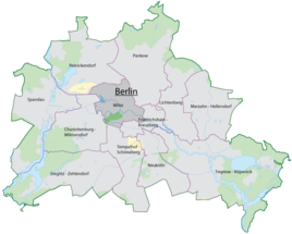 The location of Mitte in Berlin