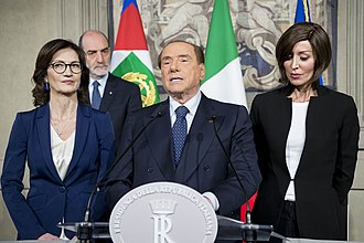 Forza Italia (2013) - Berlusconi with FI's leaders in the Parliament, Mariastella Gelmini and Anna Maria Bernini.