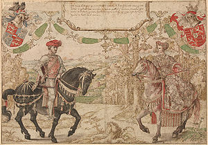 Jan IV of Nassau - Jan IV of Nassau and his wife Maria of Loon-Heinsberg; both were decades dead by 1538-40, when a set of dynastic designs were made in pen with watercolour by Bernard van Orley