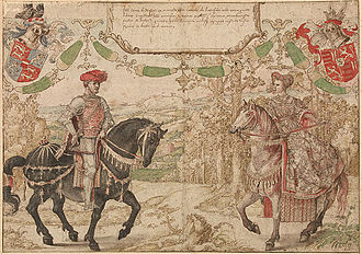Maria of Loon-Heinsberg - Jan IV of Nassau and his wife Maria of Loon-Heinsberg; both were decades dead by 1538-40, when a set of dynastic designs were made in pen with watercolour by Bernard van Orley