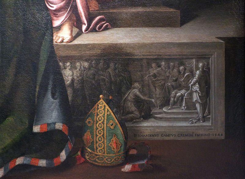 File:Bernardino campi, madonna in trono coi ss. francesco, benedetto e giuseppe, 1548, 02 firma.jpg
