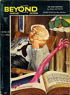 Beyond Fantasy Fiction - March 1954 issue of Beyond Fantasy Fiction. Cover art by Scott Templar.