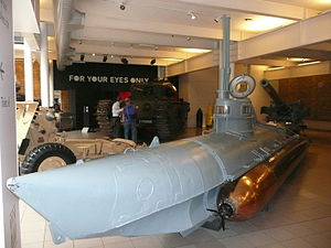 Biber (submarine) - Biber No.90 on display at the Imperial War Museum (2008)