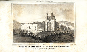 Biscay - House where Carlist General Tomás de Zumalacárregui was hurt, and the Basilica of Begoña in 1835, after the Siege of Bilbao.