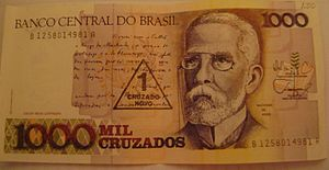 Machado de Assis - Banknote of Brazilian cruzado featuring Machado de Assis.