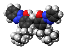 Space-filling model of the bisoctrizole molecule