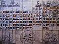 Dessins de navires (en haut), pavillons marins (au centre) navire et rose des vents en bas