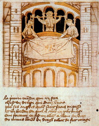 Treasury of the Basilica of Saint Servatius - Relics shown from dwarf gallery (Blokboek van St Servaas, ±1460)