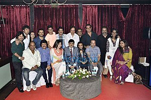 Music of Bollywood - A group of Bollywood singers at the Indian Singers' Rights Association (ISRA) meet in 2013. Standing (L to R) Kailash Kher, Sonu Nigam, Sowmya Raoh, Javed Ali, Shaan, Udit Narayan, Manhar Udhas, Kunal Ganjawala, Abhijeet Bhattacharya, Hariharan, Mahalaxmi Iyer, Sitting (L to R) Mohammed Aziz, Pankaj Udhas, Alka Yagnik, Sanjay Tandon, Chitra Singh, Suresh Wadkar, Mitali Singh, Kumar Sanu.
