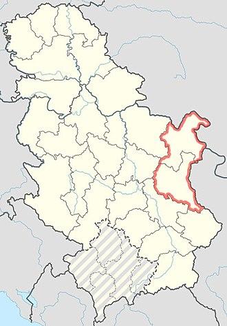 Timočka Krajina - Map of Timočka Krajina, in central Serbia.