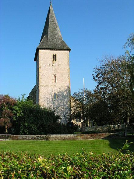Bosham Church in West Sussex: the lower three storeys of the tower are Saxon, the top storey Norman Bosham Church Tower.JPG