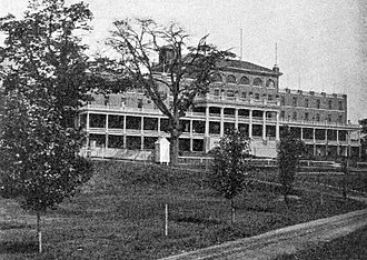 Burlington, Ontario - The Brant Hotel in 1902. Located on the shore of Lake Ontario in Burlington, the hotel was erected on the former homestead of Joseph Brant, and was the largest resort in Canada.  The hotel was expropriated and used as a military hospital in 1917, demolished and rebuilt in the 1930s, and then demolished in 1964.