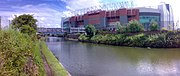 Old Trafford football ground next to the Bridgewater Canal in Old Trafford