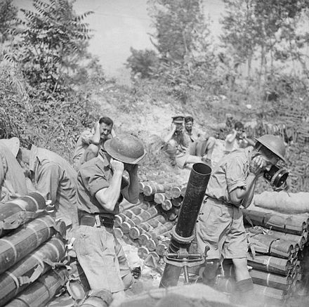 British 4.2 inch mortar of 307th Battery, 99th Light Anti-Aircraft Regiment, in action during the Battle of Monte Cassino, 12 May 1944.