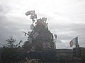 British flag and Ulster banner on bonfire - Belfast, August 2011.jpg