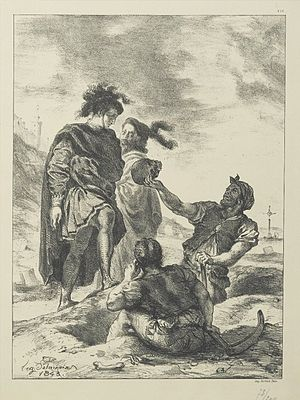 "The Gravediggers - ""Hamlet, Horatio, and the Gravediggers"" by Eugène Delacroix."