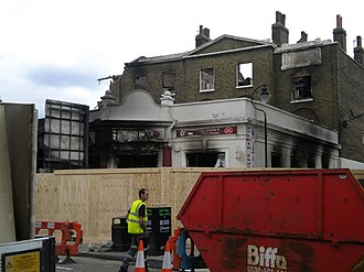 Tottenham - The former Bruce Grove Post Office was destroyed during the 2011 Tottenham riots