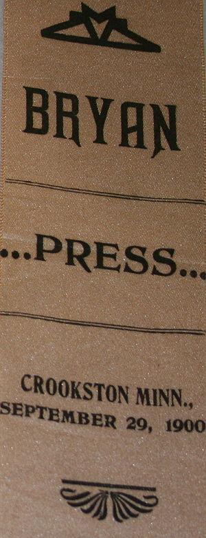 Press pass - 1900 press pass to a William Jennings Bryan speech