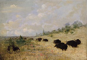 Kiowa - Elk and Buffalo Grazing among Prairie Flowers 1846–48, painted by George Catlin in Texas.
