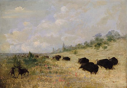 Elk and Buffalo Grazing among Prairie Flowers 1846-48, painted by George Catlin in Texas. Buffalo and Elk in Texas- George Catlin.jpg