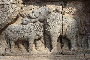 Airavatesvara Temple - Bull and Elephant relief at Thanjavur Airavatesvara Temple.