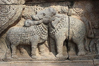 Airavatesvara Temple - Bull and Elephant relief at Thanjavur Airavatesvara Temple.