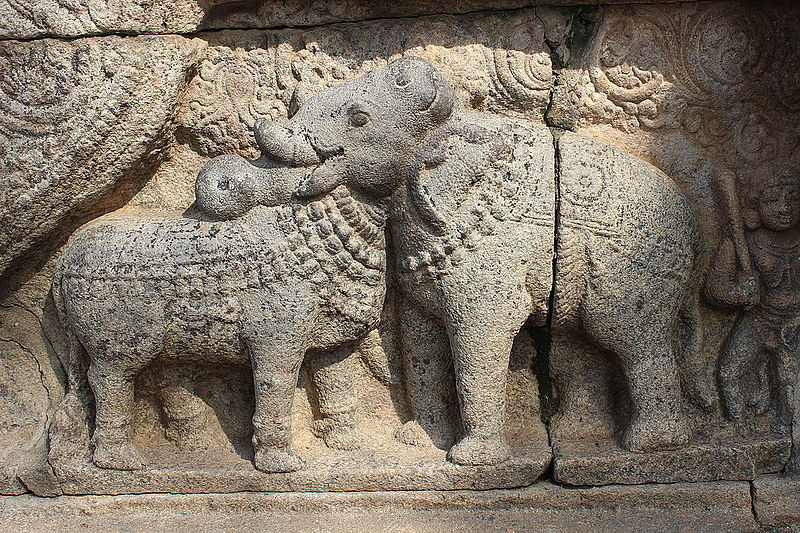 File:Bull and Elephant statue at Thanjavur Airavatesvara Temple..JPG