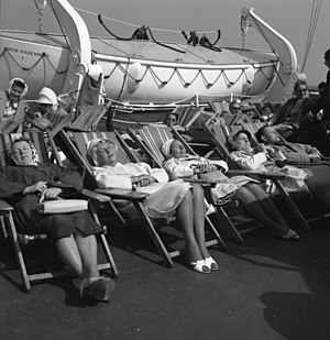 Deckchair - Passengers relaxing on deckchairs on board a German ship