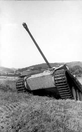 Hull-down - A tank's exposed belly armour is vulnerable to even modest antitank weapons.  This is a Panther tank, cresting a hill.