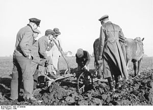 Volksdeutsche Mittelstelle -  Volksdeutsche that had been resettled in the Wartheland by VoMi receive agriculture training in 1940.