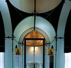 Menil Collection - Interior of the Byzantine Fresco Chapel showing the glass church
