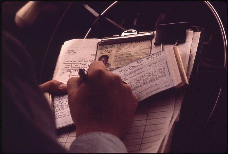 """File:CAB DRIVER GETS TICKET FOR NOT HAVING PASSENGER LIST - NARA - 546648.jpg Author Yoichi R. (Yoichi Robert) Okamoto, 1915-, Photographer (NARA record: 2987665) Record creatorEnvironmental Protection Agency. (12/02/1970 - ) Title CAB DRIVER GETS TICKET FOR NOT HAVING PASSENGER LIST Depicted placeWashington (Washington (D.C.)) inhabited place (38.883°N 77.033°W; NARA geographical record) DateMay 1973 Collection National Archives at College Park  Blue pencil.svg wikidata:Q38945047 Still Picture Records Section, Special Media Archives Services Division (NWCS-S) Record ID NARA Logo created 2010.svgThis media is available in the holdings of the National Archives and Records Administration, cataloged under the National Archives Identifier (NAID) 546648. This tag does not indicate the copyright status of the attached work. A normal copyright tag is still required. See Commons:Licensing.  Deutsch 