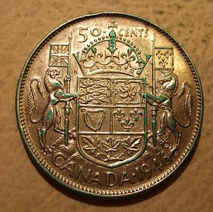 50-cent piece (Canadian coin) - A 1946 50-cent piece featuring King George VI