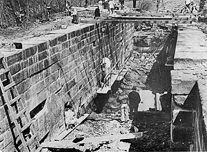 Chesapeake and Ohio Canal National Historical Park - Work on restoring Lock 16 on the canal in 1939.