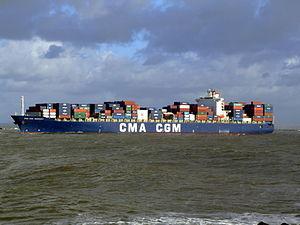 CMA CGM Debussy p4, leaving Port of Rotterdam, Holland 21-Jan-2007.jpg