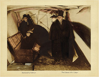 The Cabinet of Dr. Caligari - Goldwyn Releasing lobby card from Caligari showing doctors examining Cesare