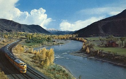 The river in western Colorado, with the California Zephyr running alongside California Zephyr Colorado River Western Colorado.JPG