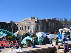 Cameron Indoor Stadium - Exterior of Cameron Indoor Stadium as seen from Krzyzewskiville